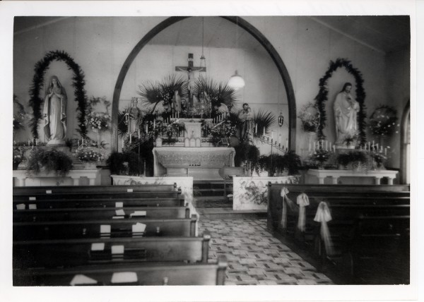 Interior of old St. Elizabeth of Hungary Church, Alice, TX, June, 1936; photographer unknown. Courtesy of Catholic Archives of Texas