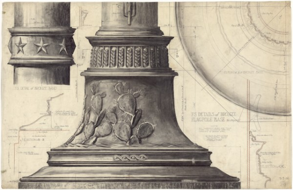 """Pencil on trace drawing of Full Scale Details of Bronze Flagpole Base for the Main Building of the University of Texas, August 7, 1935 size: 53 1/4"""" high x 81 1/2"""" wide"""